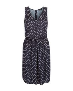 Tall Blue Ditsy Floral Print V Neck Sleeveless Dress  | New Look