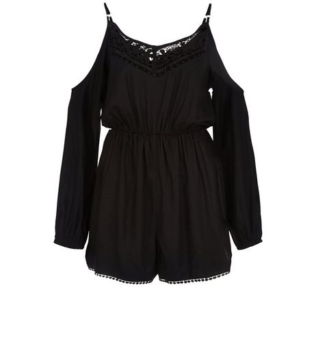 Black Crochet Trim Cold Shoulder Playsuit  | New Look