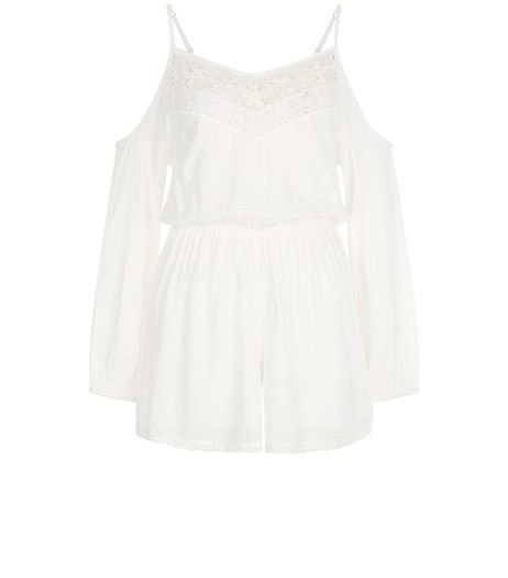 White Crochet Trim Cold Shoulder Playsuit  | New Look