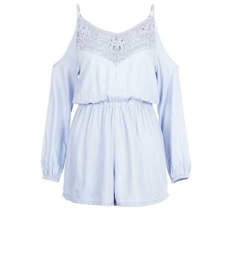 Pale Blue Crochet Trim Cold Shoulder Playsuit  | New Look
