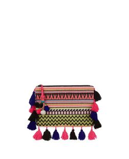 Pink Aztec Knit Tassel Trim Clutch  | New Look
