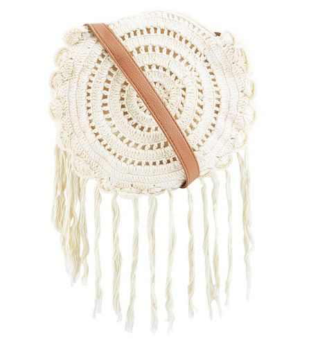 Cream Round Crochet Across Body Bag  | New Look