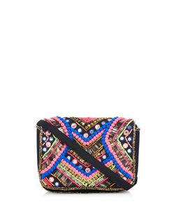 Multicoloured Beaded Pom Pom Embellished Across Body Bag  | New Look