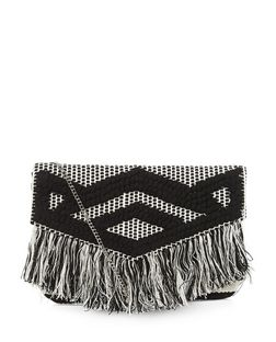 Black Geo Woven Rug Fringe Clutch Bag  | New Look