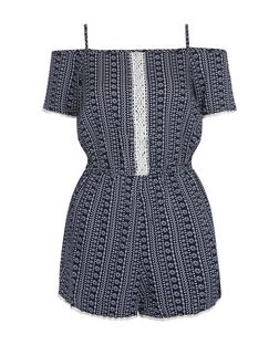Teens Blue Floral Stripe Print Crochet Panel Playsuit | New Look