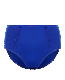 Plus Size Bright Blue Lace Trim Briefs  | New Look
