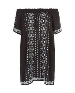 Black Embroidered Bardot Neck Dress | New Look
