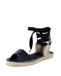 Black Canvas Ankle Tie Espadrilles | New Look