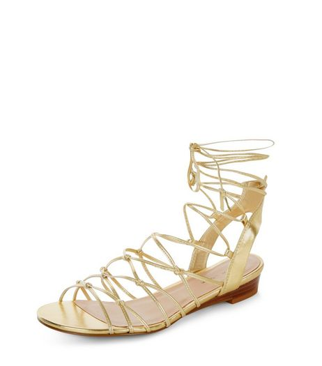 Gold Knotted Strap Wedge Sandals  | New Look