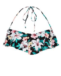 Black Tropical Print Flounce Bikini Top | New Look