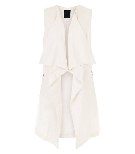 Camel Waterfall Sleeveless Jacket | New Look
