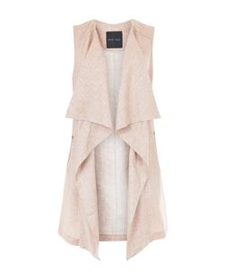 JAMid Pink Waterfall Sleeveless Jacket | New Look
