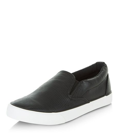 Black Textured Slip On Plimolls  | New Look