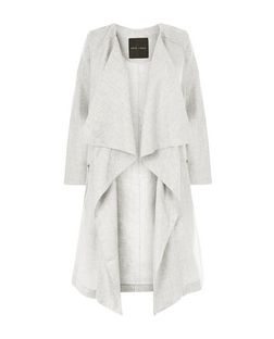 Grey Linen Waterfall Duster Coat  | New Look