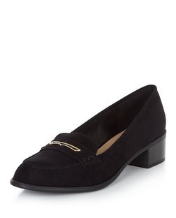 Black Metal Trim Block Heel Loafers  | New Look