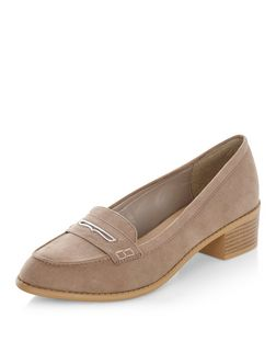 Light Brown Metal Trim Block Heel Loafers  | New Look