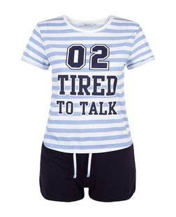 Teens Blue 02 Tired To Talk Print Pyjama Set | New Look