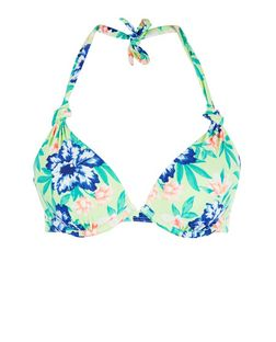 Green Tropical Print Extreme Push Up Bikini Top | New Look
