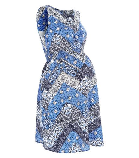 Maternity Blue Floral Zig Zag Print Sleeveless Dress | New Look