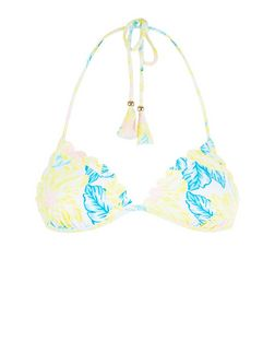 Yellow Tropical Print Scallop Hem Bikini Bottoms  | New Look