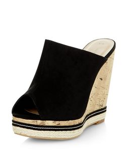 Black Peep Toe Wedge Mules  | New Look