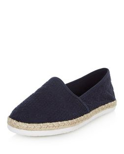 Navy Embroidered Slip On Espadrilles  | New Look