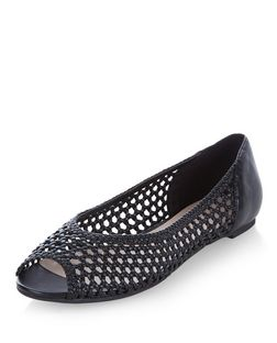 Black Woven Peeptoe Pumps  | New Look
