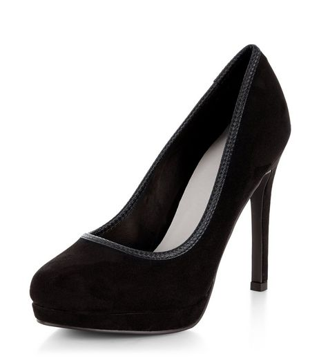 Black Comfort Suedette Woven Trim Platform Heels  | New Look