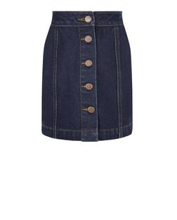 Girls Blue Button Front A-Line Denim Skirt  | New Look