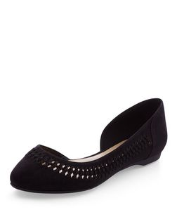 Black Woven Trim Cut Out Pointed Pumps | New Look
