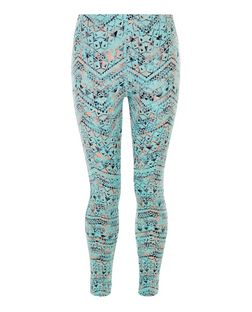 Teens Multicoloured Aztec Print Sports Leggings  | New Look