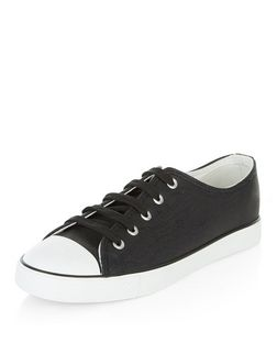Black Snakeskin Print Lace Up Plimsolls  | New Look