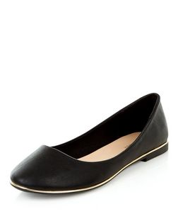 Black Metal Bar Ballet Pumps  | New Look