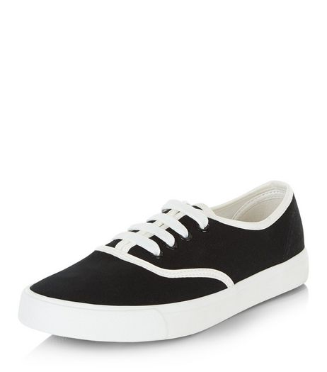 Black Contrast Trim Lace Up Plimsolls  | New Look