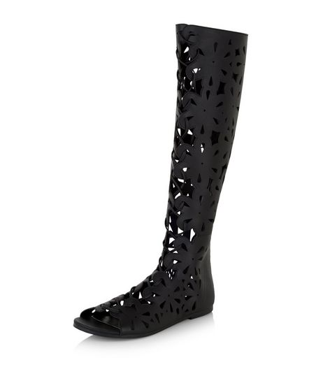 Black Floral Laser Cut Out Peep Toe High Leg Boots  | New Look