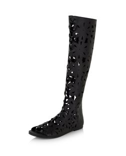 Black Floral Laser Cut Out Peeptoe High Leg Boots  | New Look