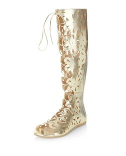 Gold Floral Laser Cut Out Peep Toe High Leg Boots  | New Look