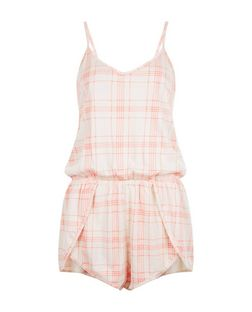 Pink Check Playsuit  | New Look