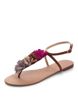 Stone Suede Pom Pom Sandals  | New Look