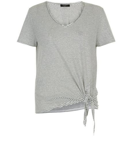 Petite White Stripe Tie Front T-Shirt | New Look