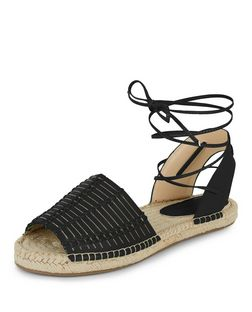 Black Woven Lace Up Espadrilles  | New Look