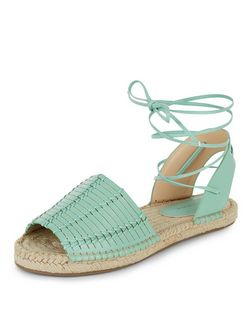 Mint Green Woven Lace Up Espadrilles  | New Look
