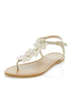 Gold Suedette Diamante Floral Embellished Sandals  | New Look