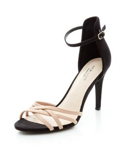 Black Comfort Suedette Colour Block Cross Strap Heels  | New Look