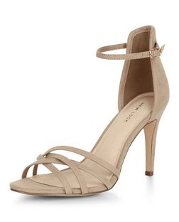 Light Brown Comfort Suedette Cross Strap Heels | New Look