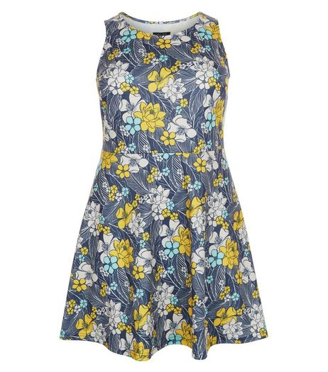 Curves Blue Floral Print Skater Dress | New Look
