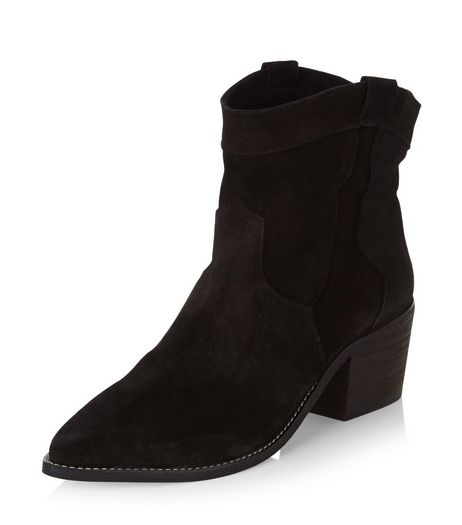 Black Premium Suede Western Boots  | New Look