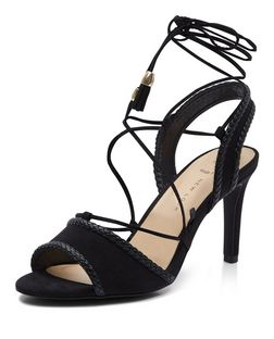 Wide Fit Black Tassel Trim Ghillie Heeled Sandals  | New Look