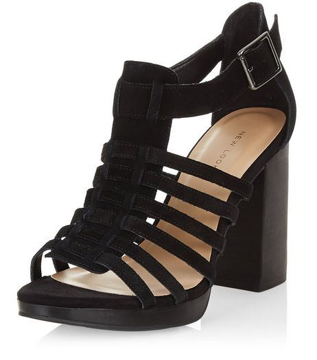 Black Suede Multi Strap Block Heel Sandals  | New Look