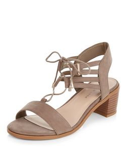 Wide Fit Light Brown Suedette Tassel Ghillie Sandals  | New Look